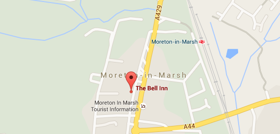 a map showing The Bell Inn